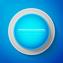 White Ruler icon isolated on blue background. Straightedge symbol. Circle blue button with white line. Vector Illustration