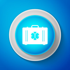 White First aid box and Medical symbol of the Emergency - Star of Life icon isolated on blue background. Circle blue button with white line. Vector Illustration