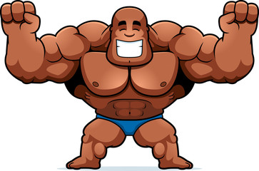 Cartoon Bodybuilder Celebrating