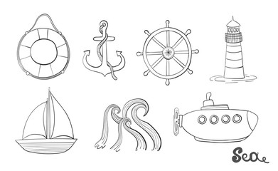 Sea object. Ocean set. Marine icon. Anchor, steering wheel and life ring. Illustrations of a lighthouse, a sailboat and a submarine.