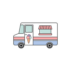 cute cartoon vector colorful ice cream truck isolated on white background