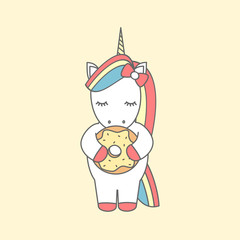 cute cartoon vector illustration with unicorn eating donut