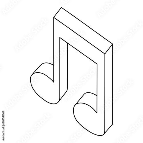 music note sound audio isometric vector illustration thin