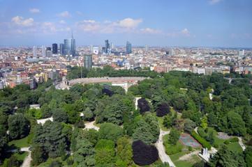 Tuinposter Milan Milano, skyscrapers behind the Sempione park