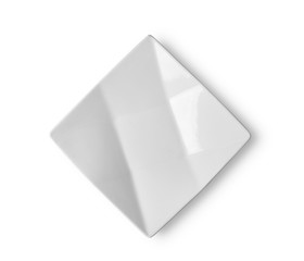 empty white ceramic plate on white background