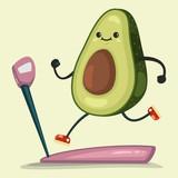 """Avocado seamless vector pattern. Cute fruit character ..."