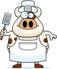 Happy Cartoon Cow Chef