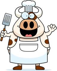 Cartoon Cow Chef Waving