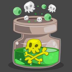 Poison bottle game icon. Vector cartoon illustration isolated on background.