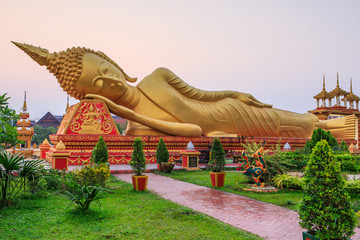Reclining  buddha statue in the temple of Vientiane, capital of Laos.