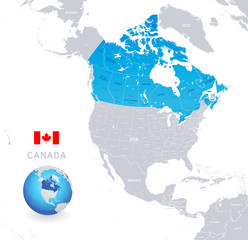 Vector Administrative Blue Canada Map
