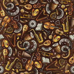 Cartoon hand-drawn Classic music seamless pattern