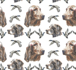 watercolor pattern - lIrish Setter and Kurzhaar dog and wild duck