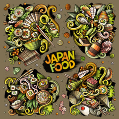 Colorful vector hand drawn doodles cartoon set of Japan food combinations of objects and elements