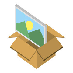 box carton with picture isometric icon vector illustration design
