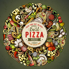 Cartoon vector doodles Pizza illustration