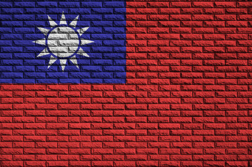 Taiwan flag is painted onto an old brick wall