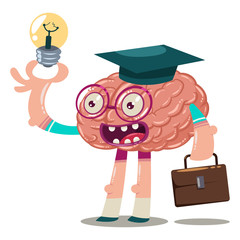 Cute cartoon brain in glasses, a graduate hat with a briefcase and a light bulb in his hand. Vector character of an internal organ isolated on a white background. Brainstorm illustration.