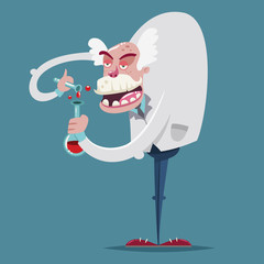 Mad scientist chemist in a laboratory suit and with a glass test tube makes a scientific experiment. Vector cartoon character of an old professor.