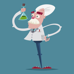 Cute scientist chemist in a laboratory suit is holding a glass test tube in his hand. Vector cartoon character of an old professor.