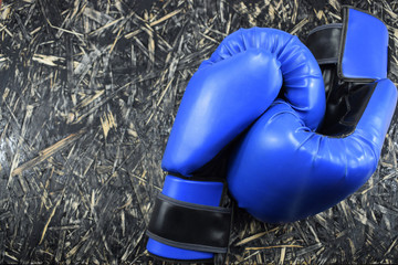 blue boxing gloves on a black shabby table