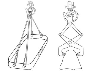 Devices for lifting goods. Crane hook. Construction machinery. Industrial equipment. Under weight