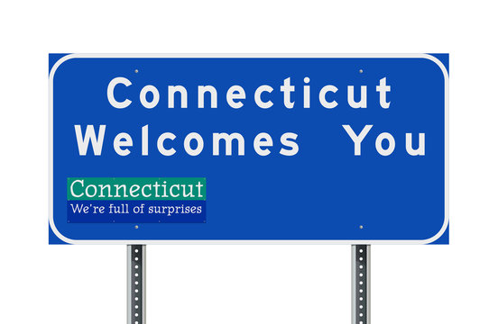 Connecticut welcomes you road sign