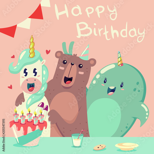 Happy Birthday Greeting Card With A Funny Unicorn Bear And Whale Vector