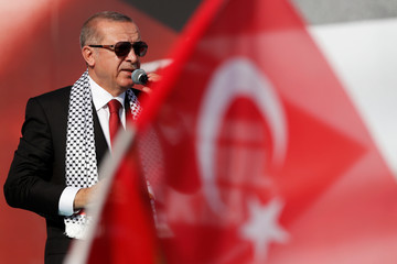 Turkish President Erdogan delivers a speech during a protest against the recent killings of Palestinian protesters on the Gaza-Israel border and the U.S. embassy move to Jerusalem, in Istanbul