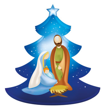 Isolated Christmas tree nativity scene with Joseph and baby Jesus in Mary's arms
