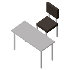 chair of four legged with table isometric icon vector illustration design