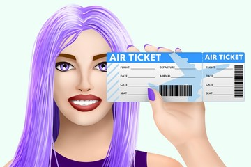 Concept travel, air ticket. Drawn nice girl on colored background. Illustration