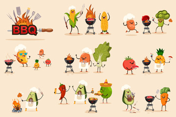 Barbecue fruit and vegetable vector set for bbq party and picnic. Cute cartoon character of avocado, mango, corn, potato, tomato, pineapple, chilli and carrot on summer vacation isolated on background