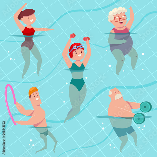 855634602dcef Group aqua aerobics in swimming pool. Young and elderly men and women doing  aquagym exercise. Vector cartoon fitness people character isolated on a ...