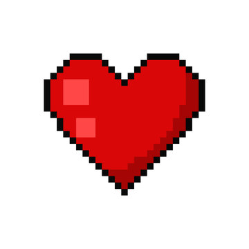 Pixel art heart tattoo. Vector 8 bit game web icon isolated on white background.