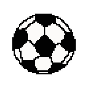 Pixel art football ball. Vector 8 bit game web icon isolated on white background.