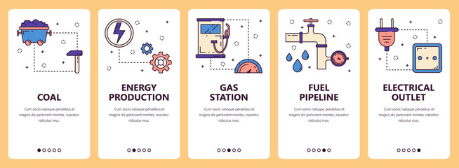 Vector line art web and mobile app template set