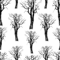 Seamless background of the drawn trees