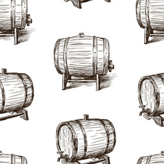 Seamless background of the sketches of wine casks