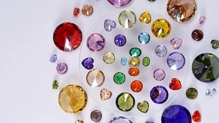 Wall Mural - colorful diamonds are turn around on display rotating diamond showcase.