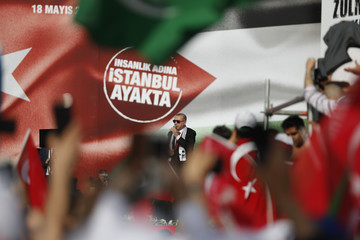 Turkish President Tayyip Erdogan delivers a speech during a protest against the recent killings of Palestinian protesters on the Gaza-Israel border and the U.S. embassy move to Jerusalem, in Istanbul