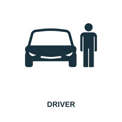 Car Driver icon. Flat style icon design. Isolated car driver icon pictogram on white.