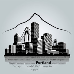 Portland city skyline. Vector illustration