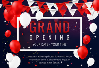 Grand opening invitation concept with red white balloons. Celebration design. Gold glitter letters on abstract background with light effect and bokeh.