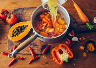 Preparing vegetable soup