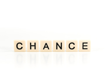 the word CHANCE on plastic boards isolated on white background with copy space