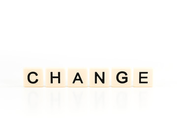 the word CHANGE on plastic boards isolated on white background with copy space