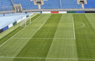 close up of soccer field grass