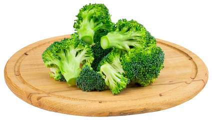 Broccoli on the cutting board isolated on white background