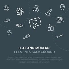 health, science, valentine, beauty and cosmetics outline vector icons and elements background concept on dark background.Multipurpose use on websites, presentations, brochures and more.